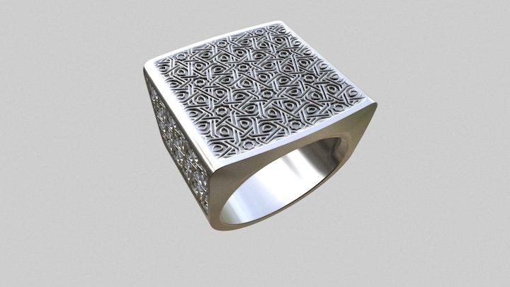Men's ring love - Arabic pattern 3D Model