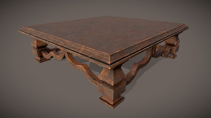 Wooden Center Table 3D Model
