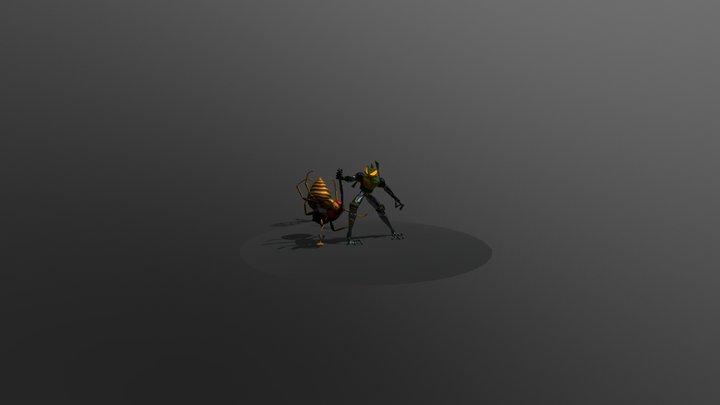 Cyber Frog vs. Giant Wasp 3D Model