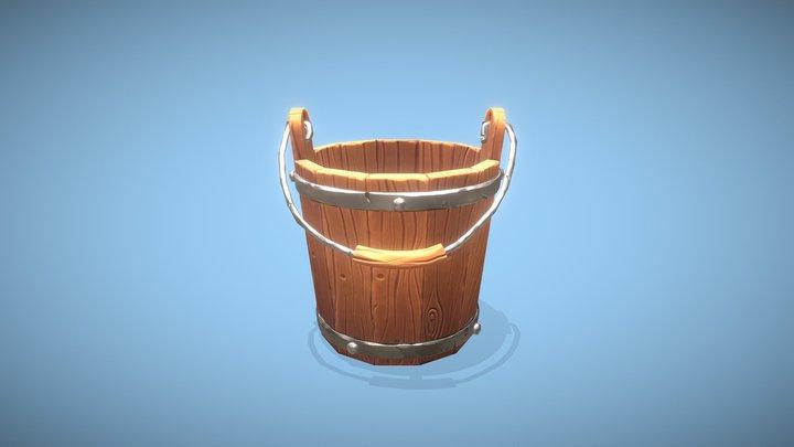 Stylized Wooden Bucket 3D Model