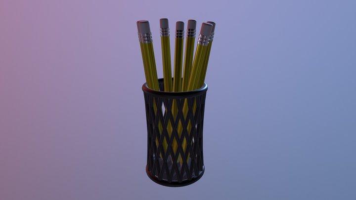 Pencil Cup and Pencils 3D Model