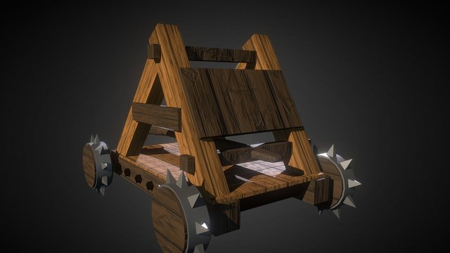 Hand Painted Catapult. 3D Model