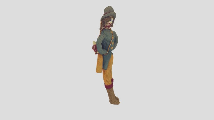 Knitted Gentleman, A Hunter, A doll, A toy 3D Model