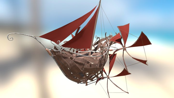 Steampunk Flying Ship 3D Model