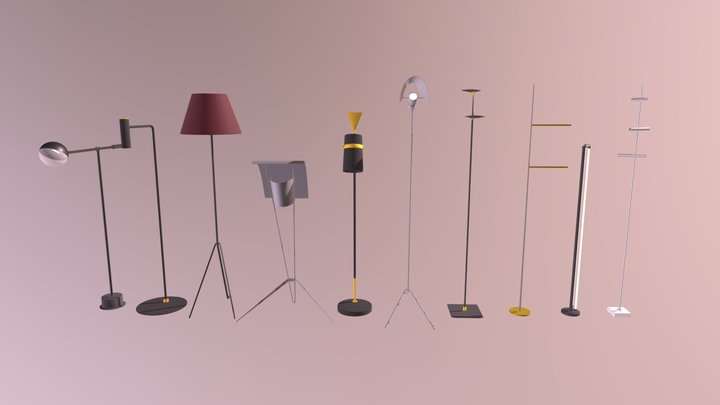 Floor Lamps Set 3D Model