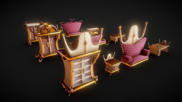 Stylized Furniture Pack - Game Ready Assets 3D Model