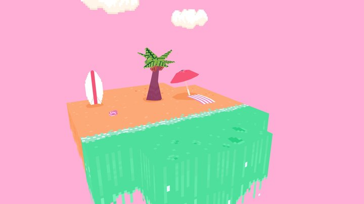 Low Poly Pocket Beach 3D Model