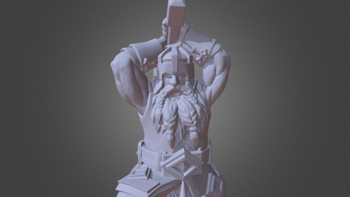 Dwarf with Hammer STL for 3d printing 3D Model