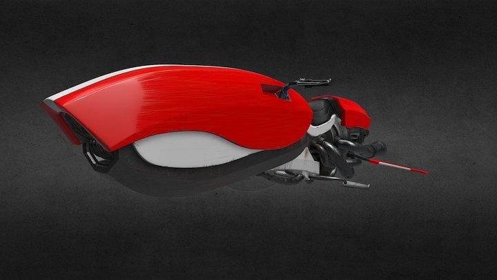 Space Bike Textured 3D Model