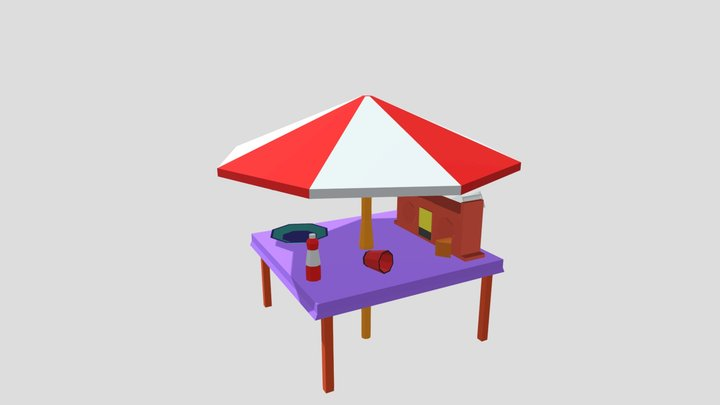 Lowpoly Table 3D Model