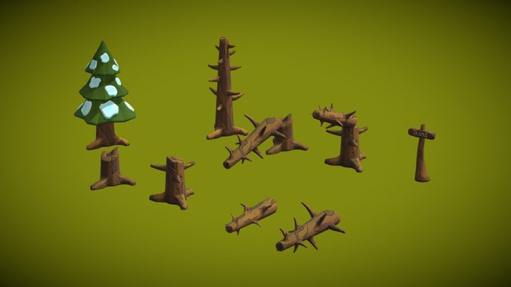 Stylized assets of trees for game 3D Model