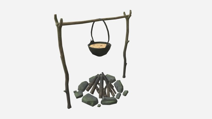 Pot with food and  bonfire (lowpoly) 3D Model