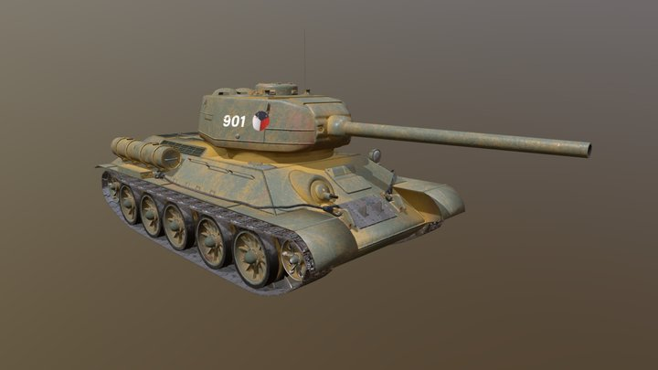Tank T-34 vz. 85 3D Model