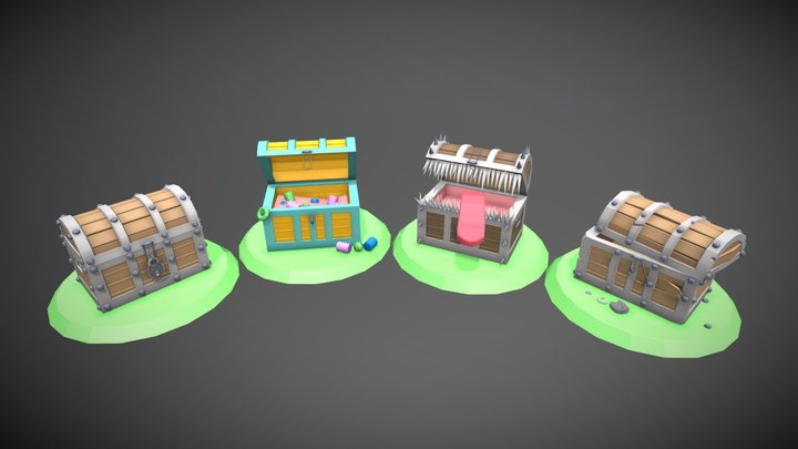 4 Versions of chests 3D Model