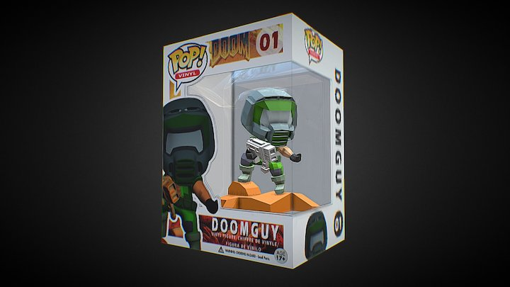 Doom Funko Pop Low Poly 3D Model