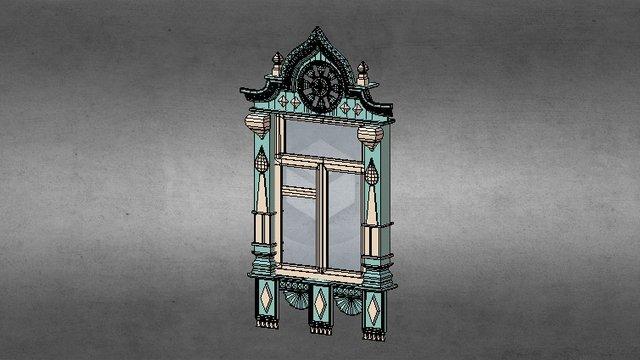 Wooden ornate window 3D Model