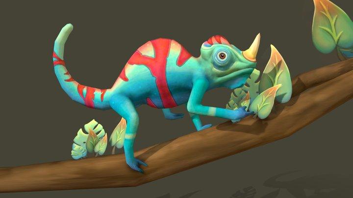 Blue Chameleon 3D Model