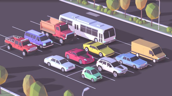 Cartoon Low Poly City Cars Pack 3D Model