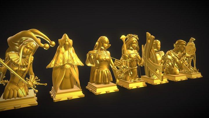 Fate GrandOrder 7 Classes Chess Set 3D Model