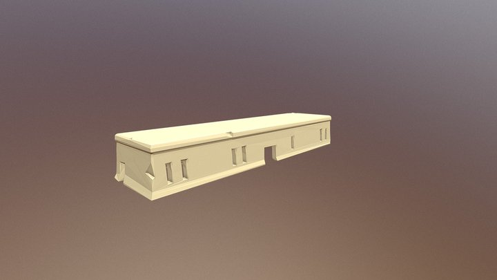 Low Poly Egyptian Long-Building 3D Model