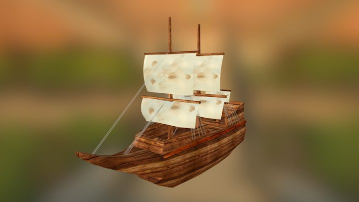 Sail  boat low poly 3D Model