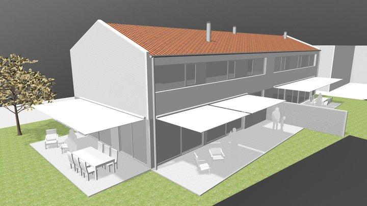 2 Viviendas pareadas, Cabanas 3D Model