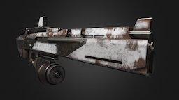 Apocalyptic Gun PBR Low Poly Baked 1K Textures 3D Model