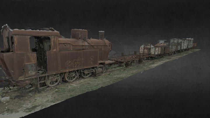 Old rusty train @Tempio-Pausania railwaystation 3D Model