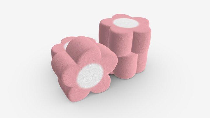 Marshmallows candy flower shape 3D Model