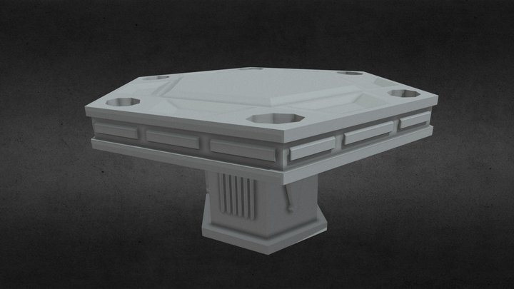 LOW POLY HEXAGONAL POKER TABLE 3D Model