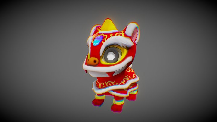Chinese Lion Dance 3D Model