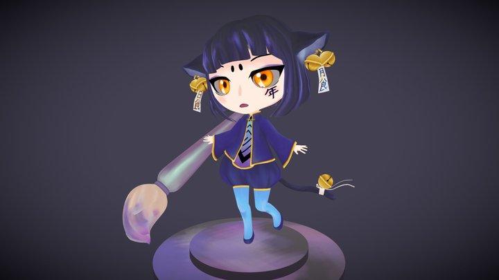 Eclipse Cat - Anime Style Chibi Model 3D Model