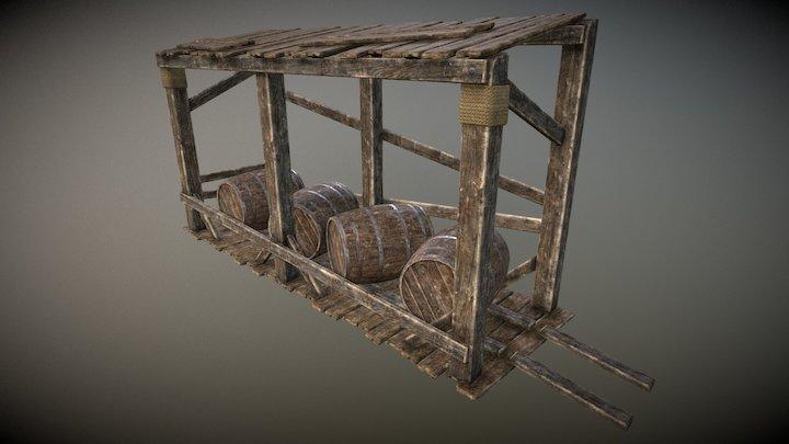 Medieval Stands For Barrel 3D Model