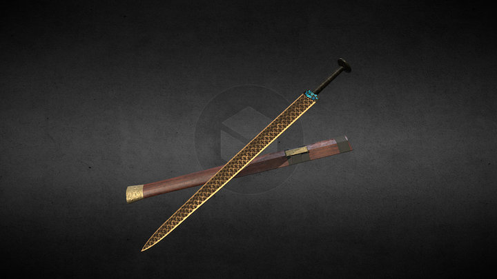 Ancient Chinese Sword 3D Model