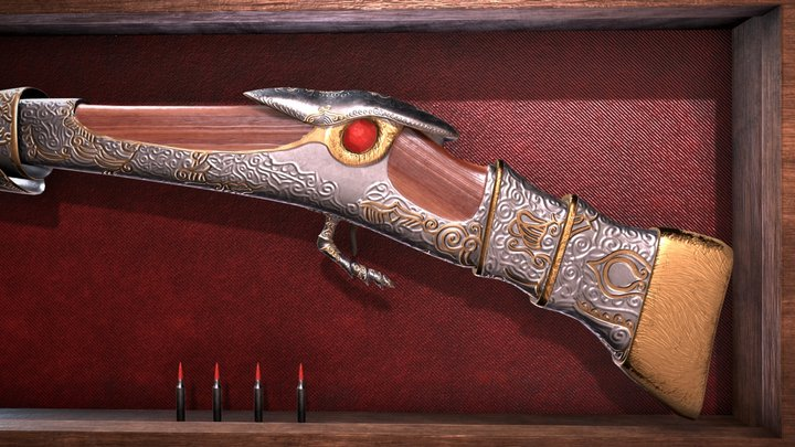 Ornate Silver Rifle 3D Model