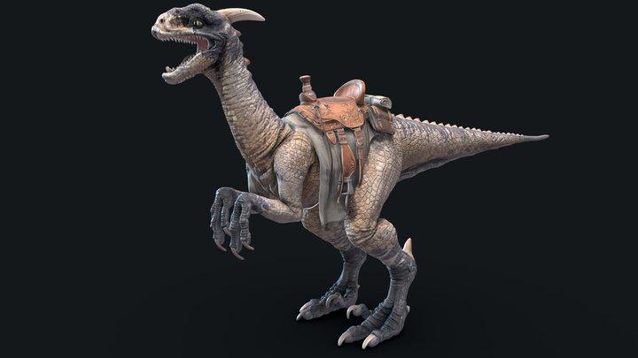 Dinosaur with Saddle PBR model 3D Model