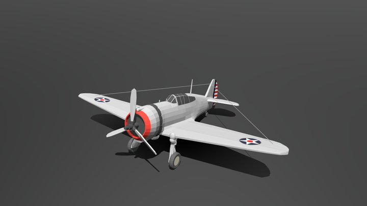 Low Poly Cartoon Curtiss P 36 Hawk WWII Airplane 3D Model