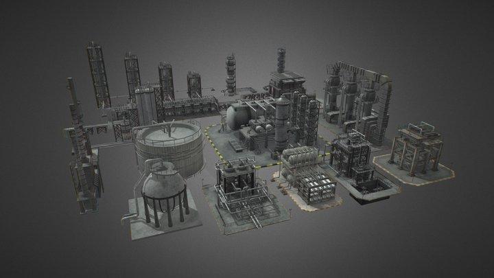 Oil Refinery Pack 3D Model