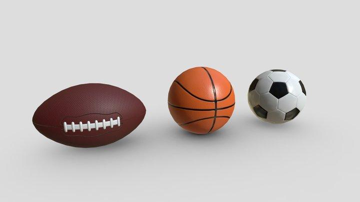 Pack of sports balls 3D Model