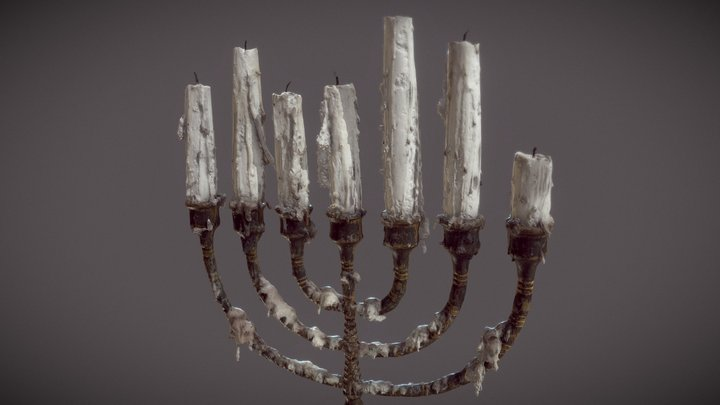 Menora with candles 3D Model