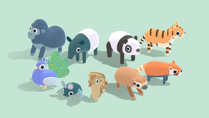 Jungle Animals - Quirky Series 3D Model