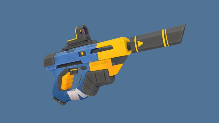 Stylized Overwatch-Style Pistol 3D Model