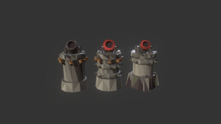 Low Poly Tower Defense Turret Mortar.unity 3D Model
