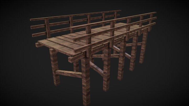 Wood Bridge Low Poly 3D Model