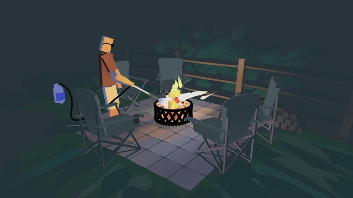 Jared starting a fire 3D Model