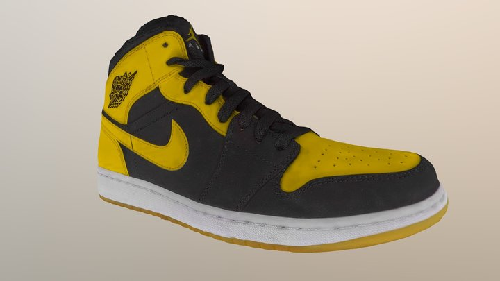 Nike Yellow Air Force One Sneakers Shoes 3D Model