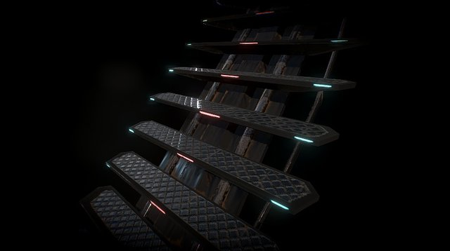 SciFi Stairs 3D Model
