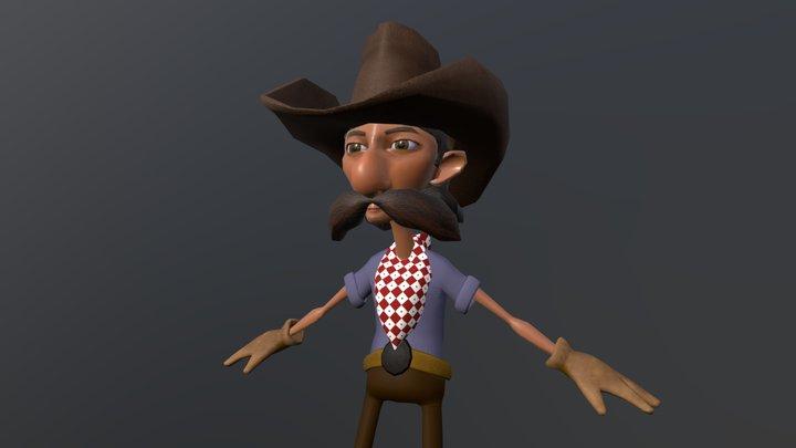 Cowboy A pose 3D Model