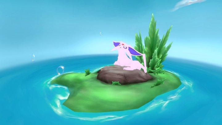 Espeon Island Diorama 3D Model