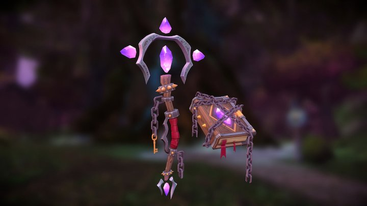 Arcane Wand and Tome 3D Model